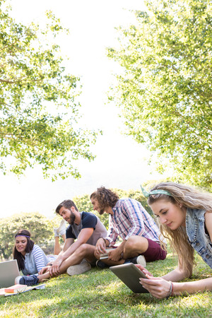man outdoors: Classmates revising together on campus on a summers day Stock Photo