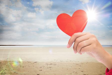 beach landscape: heart against serene beach landscape