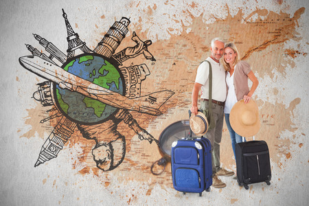 Happy couple ready to go on holiday against world map with compass showing north america photo