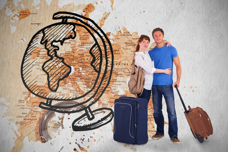 Happy couple going on holiday against world map with compass showing southern asia photo