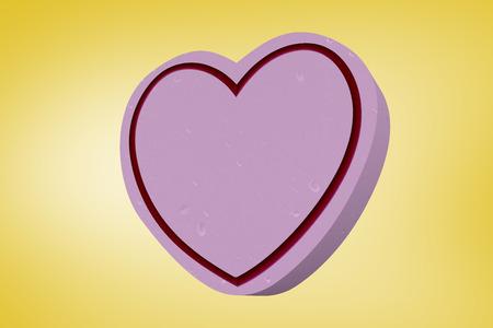 vignette: Heart against yellow vignette