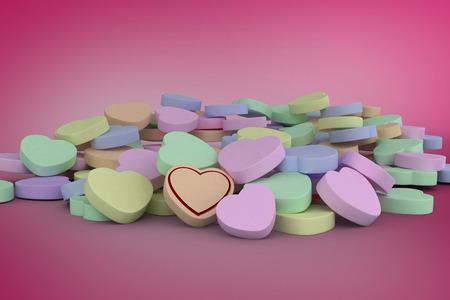 vignette: Heart against pink vignette