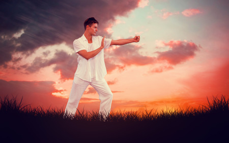 tai chi: Handsome man in white doing tai chi against red sky over grass