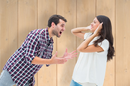 overpowered: Fearful brunette being overpowered by boyfriend against wooden planks