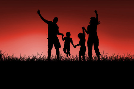 red sky: Silhouette of family jumping against red sky over grass