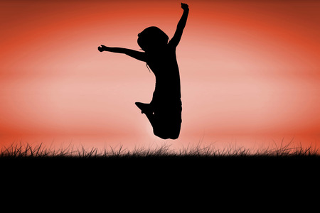 red sky: Silhouette of little girl jumping against red sky over grass