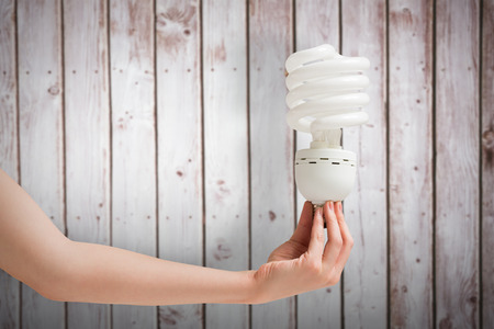efficient: Hand holding energy efficient light bulb against wooden planks