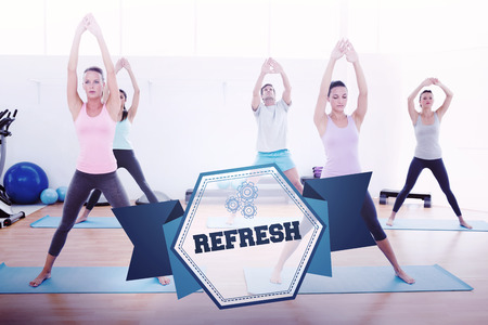 The word refresh and sporty class doing pilate exercises in fitness studio against hexagon Stock Photo