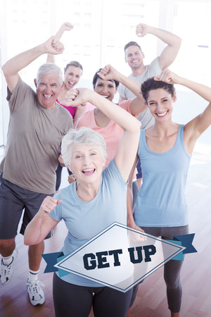 get up: The word get up and portrait of smiling people doing power fitness exercise against badge