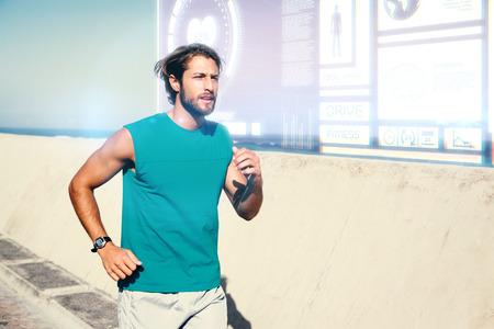 promenade: Fit man jogging on promenade against fitness interface