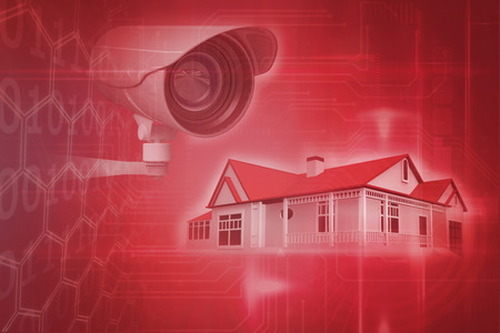 domiciles: CCTV camera against pink technology square interface design Stock Photo
