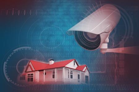 codigo binario: C�mara CCTV contra el brillante azul c�digo binario en el fondo negro