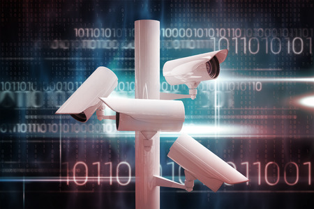 cctv camera: CCTV camera against blue technology design with binary code