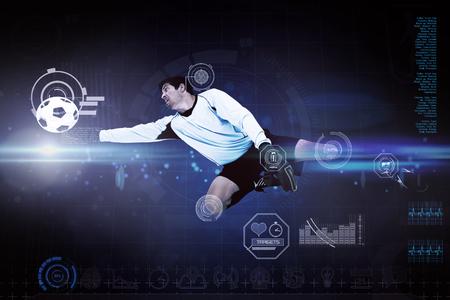 arquero de futbol: Portero contra puntos azules sobre fondo negro