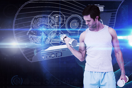 futuristic man: Fit young man exercising with dumbbells against futuristic glowing black background