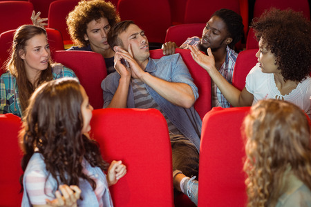 annoying: Annoying man on the phone during movie at the cinema