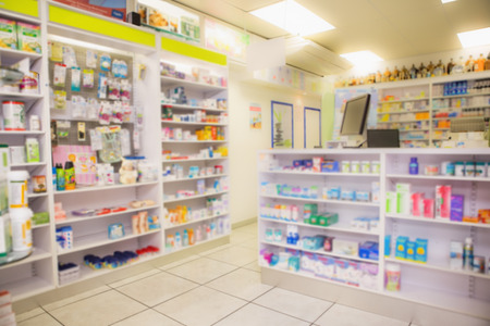 pharmacy: Close up of shelves of drugs in the pharmacy Stock Photo