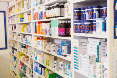 Close up of shelves of drugs in the pharmacy Stock Photo