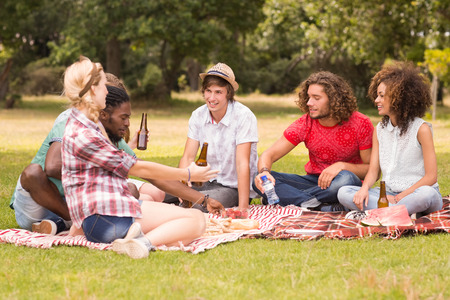 amabilidad: Amigos felices en el parque que tiene comida campestre en un día soleado