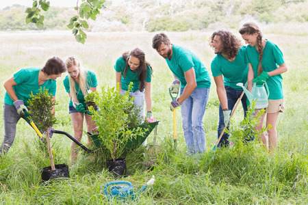 altruism: Amigos felices de Jardinería en la comunidad en un día soleado Foto de archivo