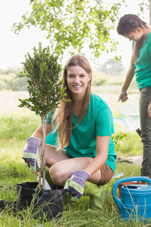 teen girls: Happy friends gardening for the community on a sunny day