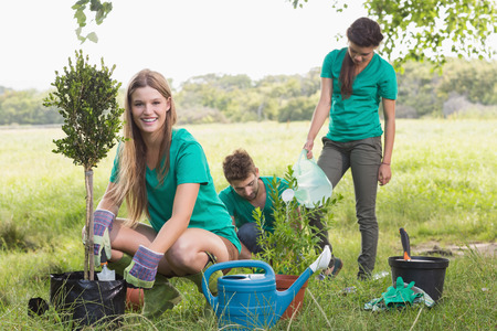 arbol: Amigos felices de Jardiner�a en la comunidad en un d�a soleado Foto de archivo