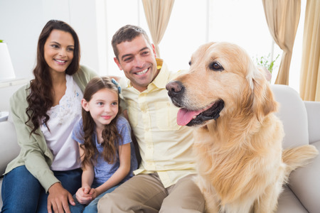 family with one child: Happy family sitting with Golden Retriever on sofa at home Stock Photo