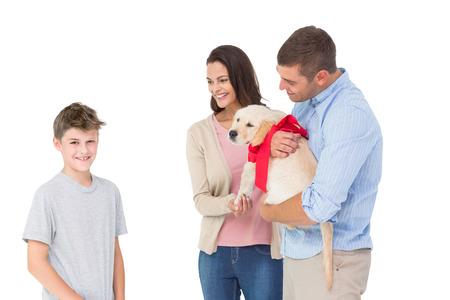 gifting: Feliz madre y el padre regalar cachorro a muchacho contra el fondo blanco