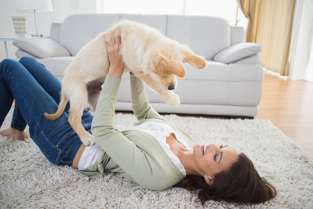 golden retriever puppy: Happy young woman lifting puppy while lying on rug at home