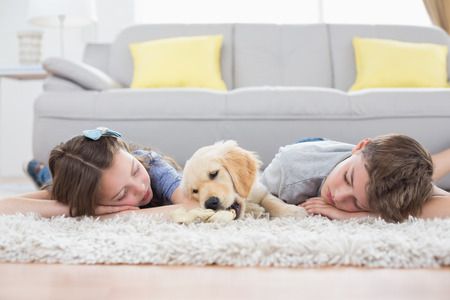 Siblings sleeping with dog on rug at home