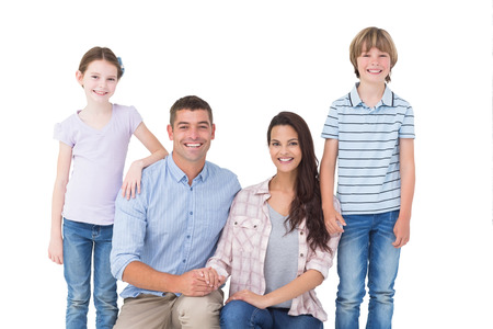 adult family: Portrait of family smiling together over white background