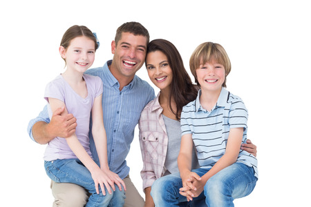 laps: Portrait of happy children sitting on parents laps over white background Stock Photo