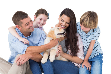dog white background: Happy family of four playing with dog over white background Stock Photo