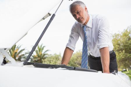 desolaci�n: Malestar hombre mirando su motor de un coche despu�s de romper hacia abajo en la carretera Foto de archivo