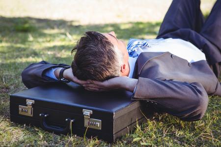 hombre de negocios: El hombre de negocios se relaja en el parque en un día soleado