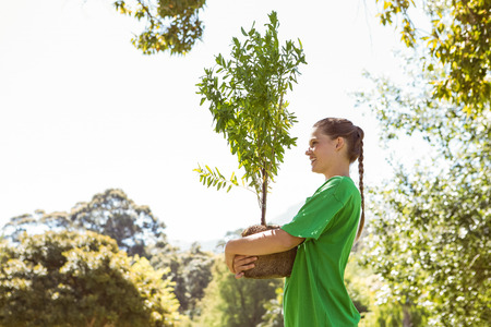 activist: Environmental activist about to plant tree on a sunny day