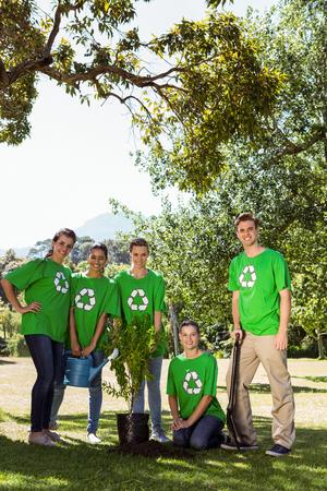 sembrando un arbol: Los activistas medioambientales que plantan un árbol en el parque en un día soleado