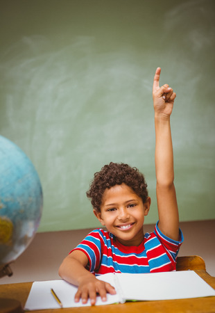 child studying: Portrait of cute little boy raising hand in classroom