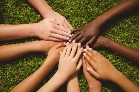 mujeres juntas: Primer plano de los niños guardan las manos juntas sobre la hierba