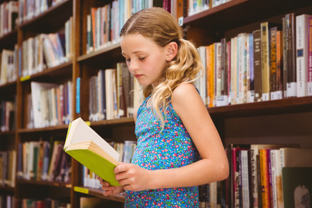 pigtail: Cute little girl reading book in the library