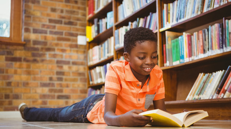 Cute little boy reading book in the library Stockfoto