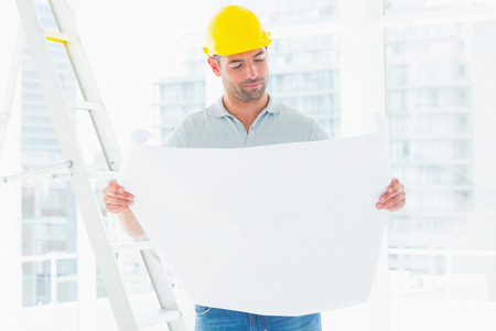 yellow hard hat: Male architect in yellow hard hat reading blueprint in bright office