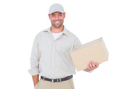 Portrait of handsome delivery man with cardboard box on white background