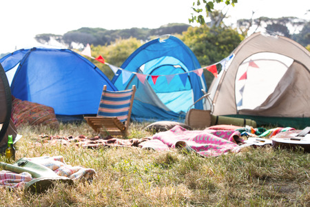 Empty campsite at music festival on a sunny day