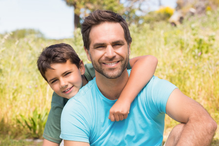 adventuring: Father and son in the countryside on a sunny day