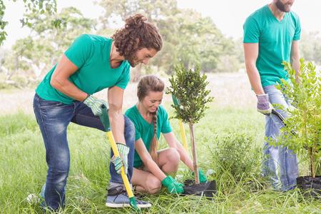 晴れた日に、コミュニティのための園芸の若い女性