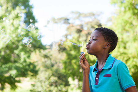 blowing bubbles: Little boy blowing bubbles in the park on a sunny day