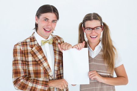 together with long tie: Geeky hipsters holding a poster on white background