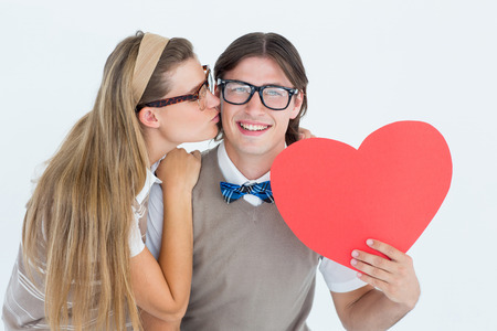 together with long tie: Smiling geeky hipster and his girlfriend on white background