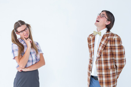 together with long tie: Thoughtful geeky hipsters on white background